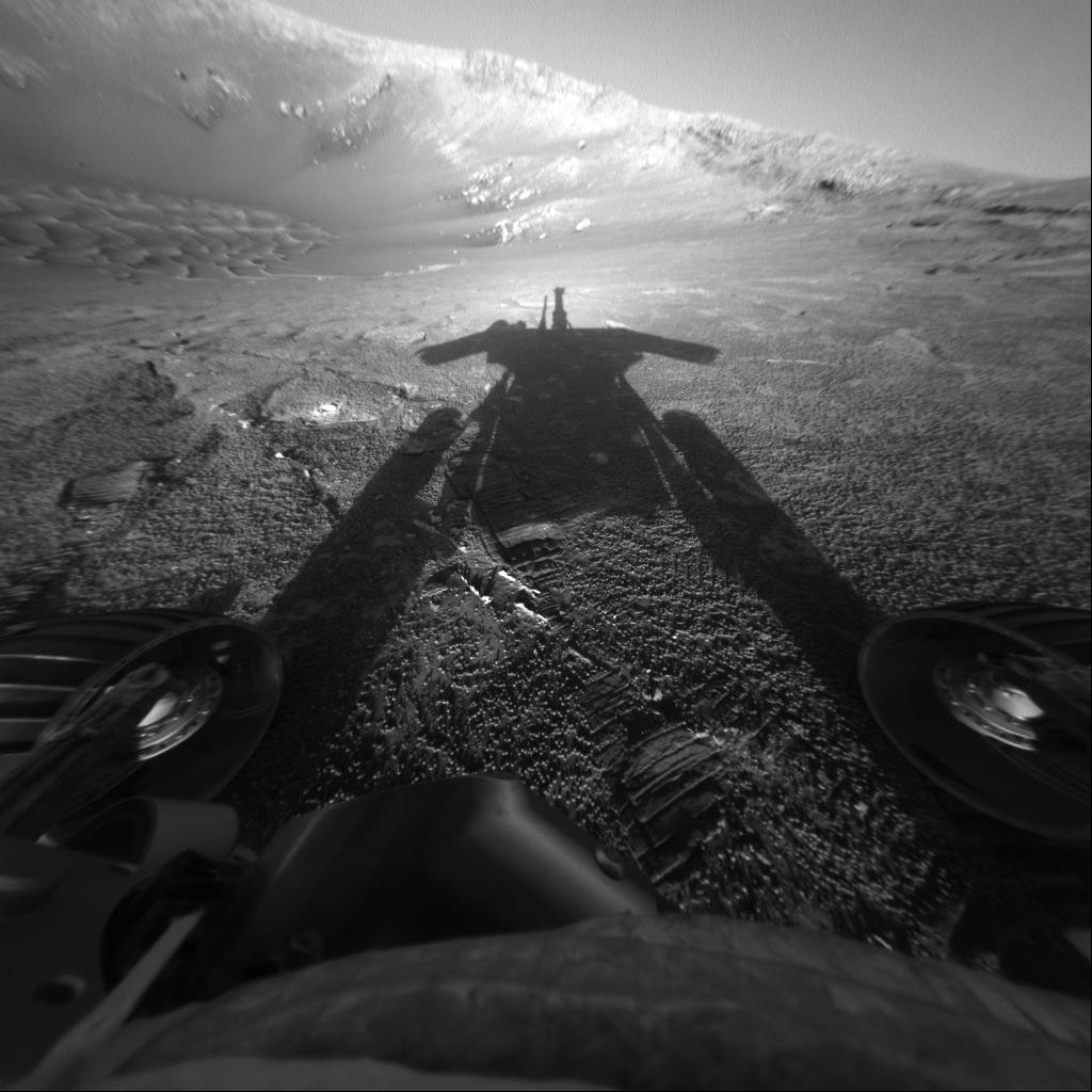 Rover shadow on Mars.