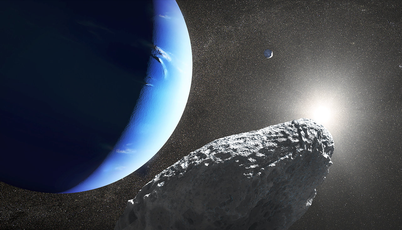 Illustration of small moon at Neptune.