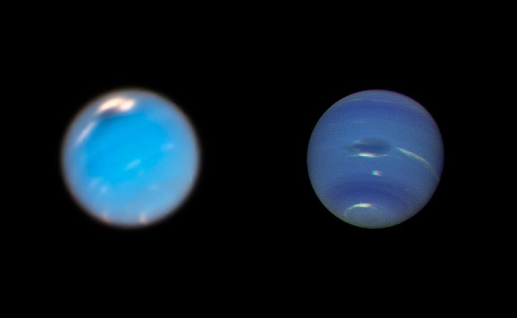 Side-by-side Neptune images.
