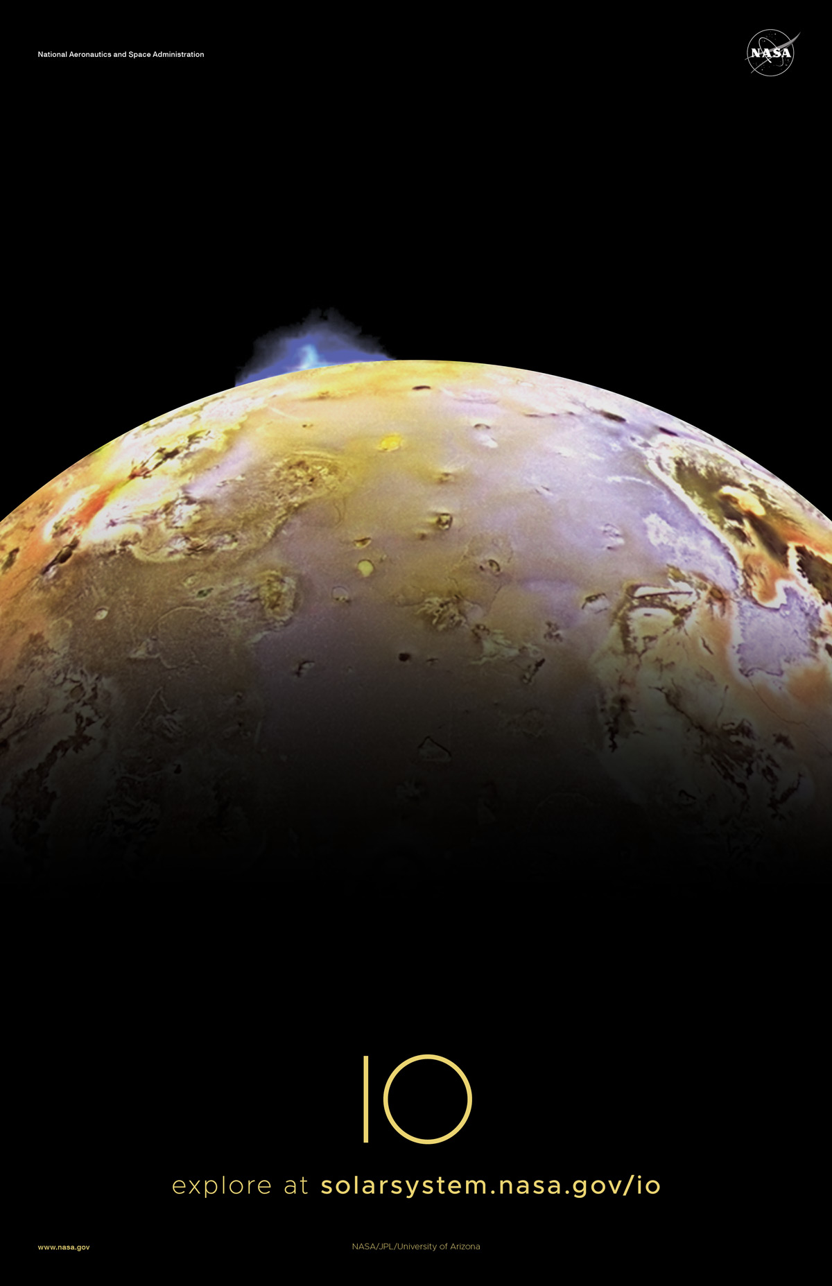 Sunlit half of Io with a volcano erupting into space.