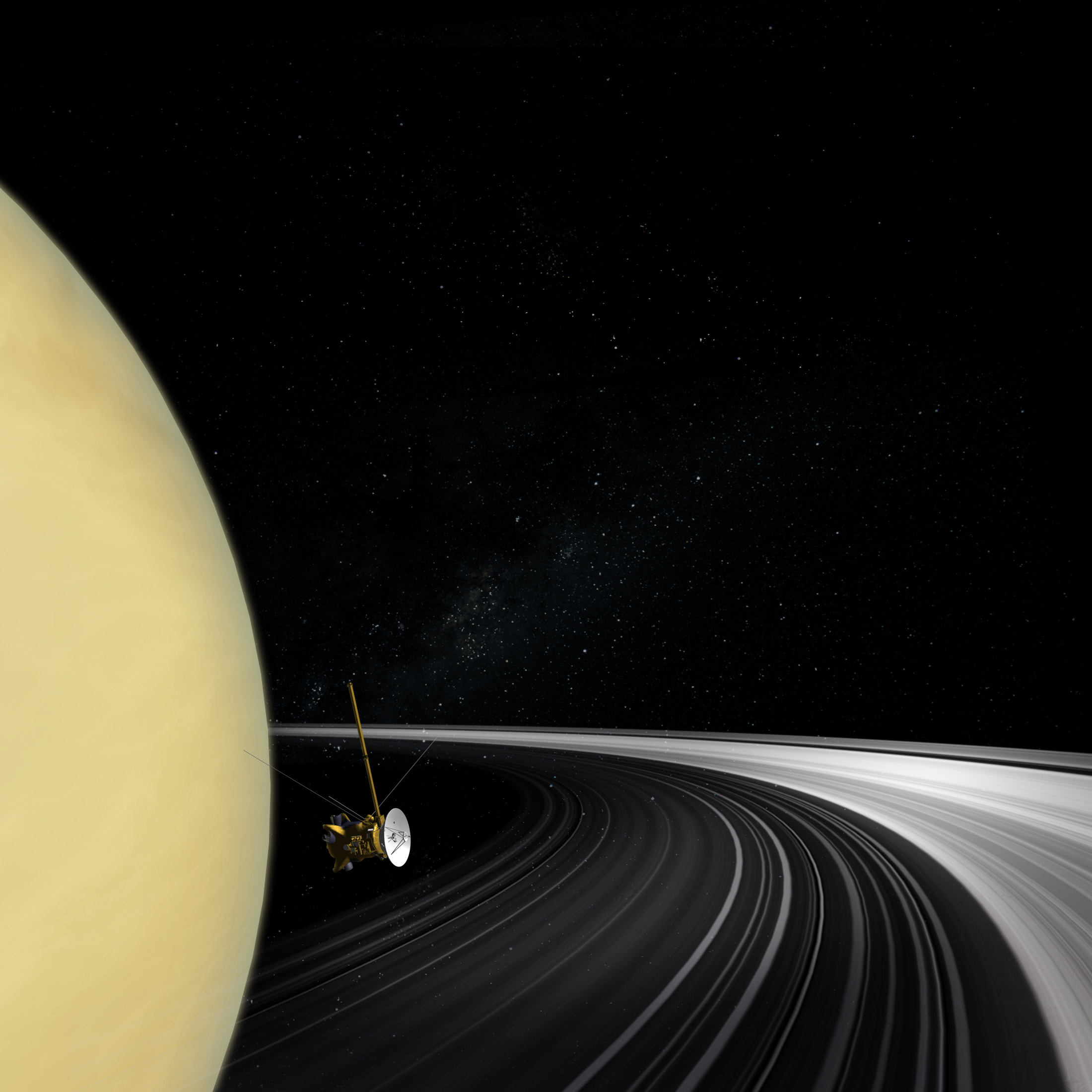 Illustration of spacecraft at Saturn.