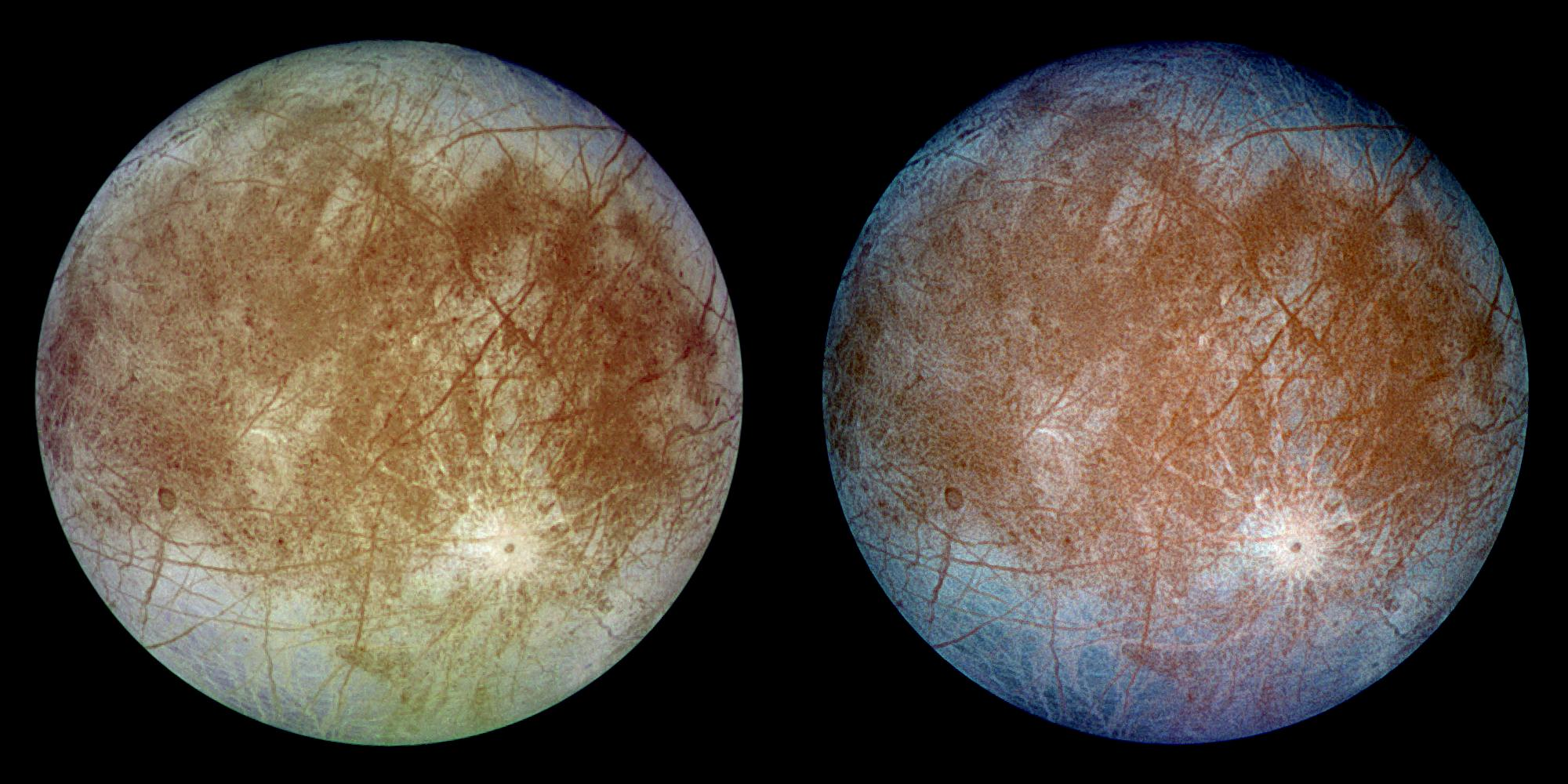 This image shows two views of the trailing hemisphere of Jupiter's ice-covered satellite, Europa.
