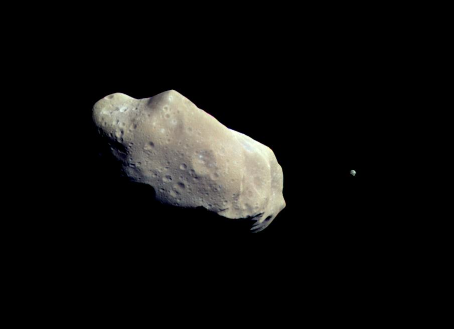 two asteroids in black space