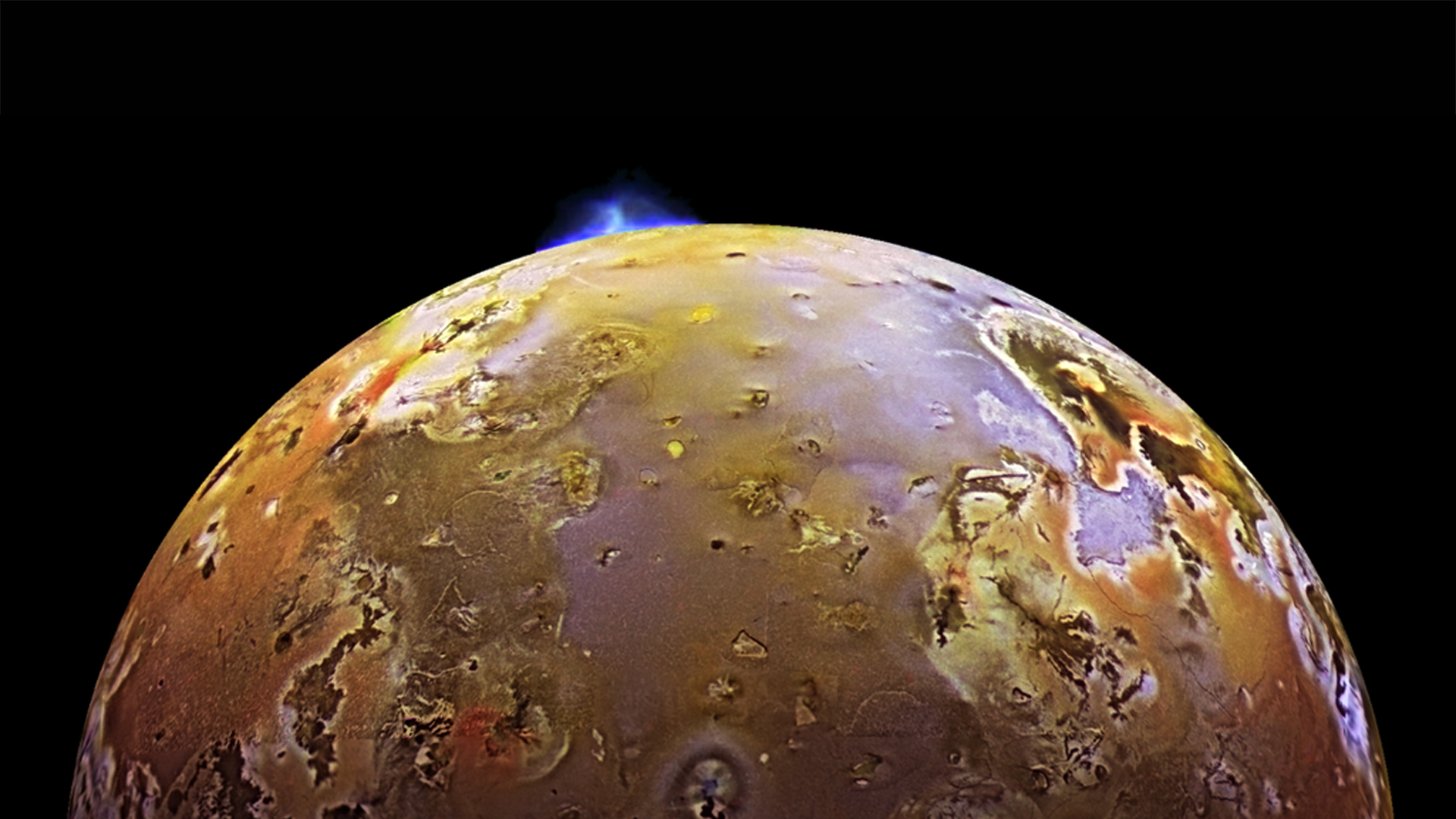 volcanic plume visible over the limb of the moon Io