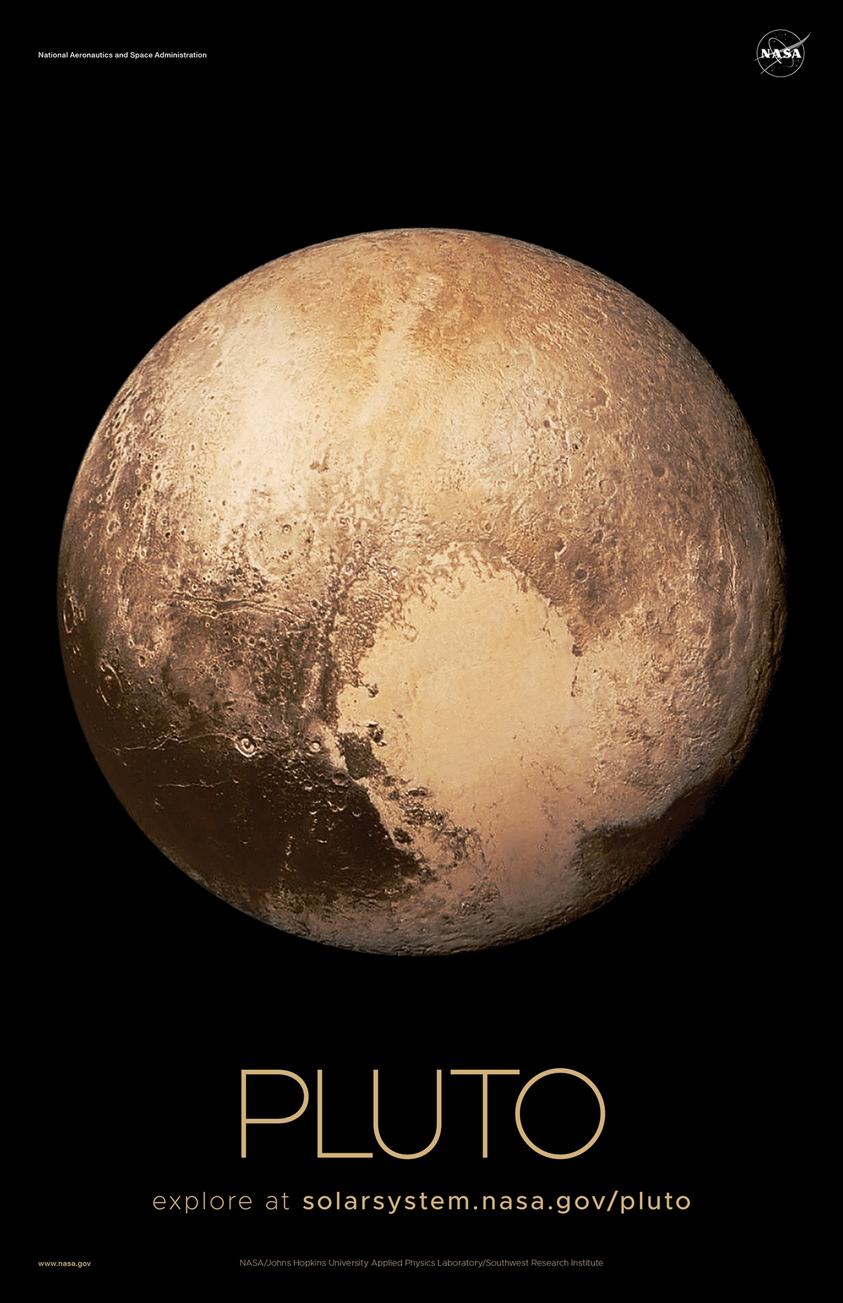 Color-enhanced view of Pluto that shows the heart-shaped region known as Sputnik Planitia.