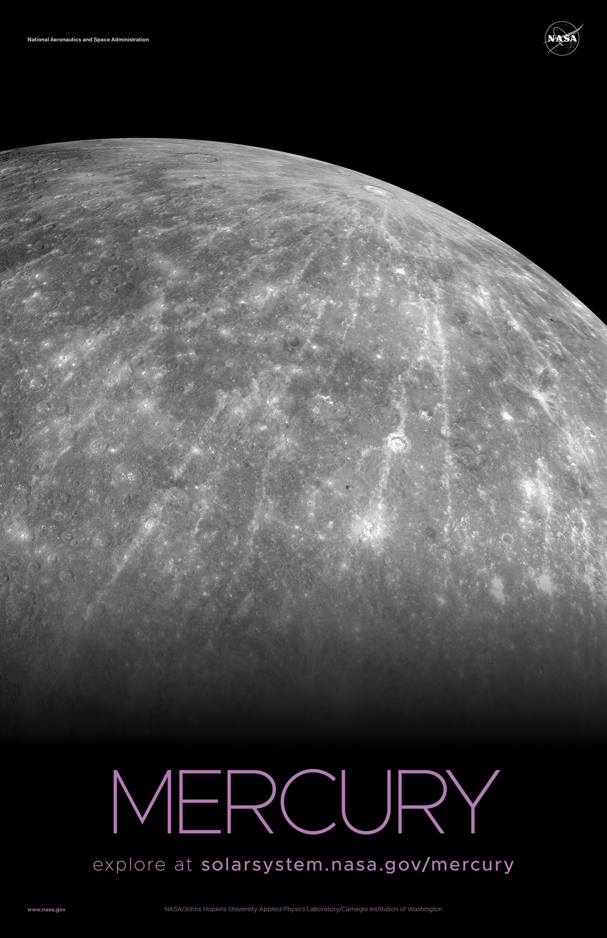 Close up view of the limb of Mercury showing a battered, cratered surface.