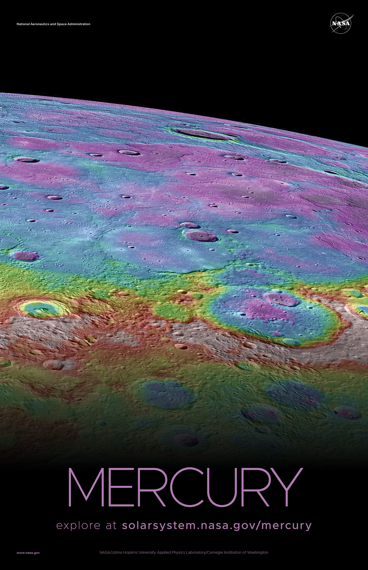 Color-enhanced view of the limb of Mercury.