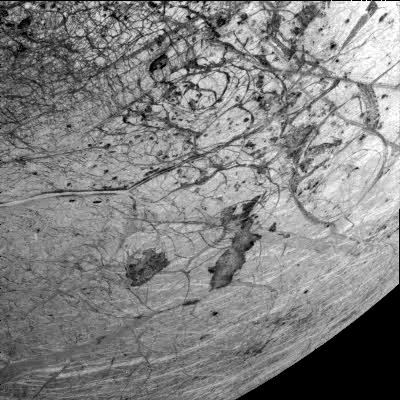 This image of Europa's southern hemisphere was obtained by the solid state imaging (CCD) system on board NASA's Galileo spacecraft during its sixth orbit of Jupiter.
