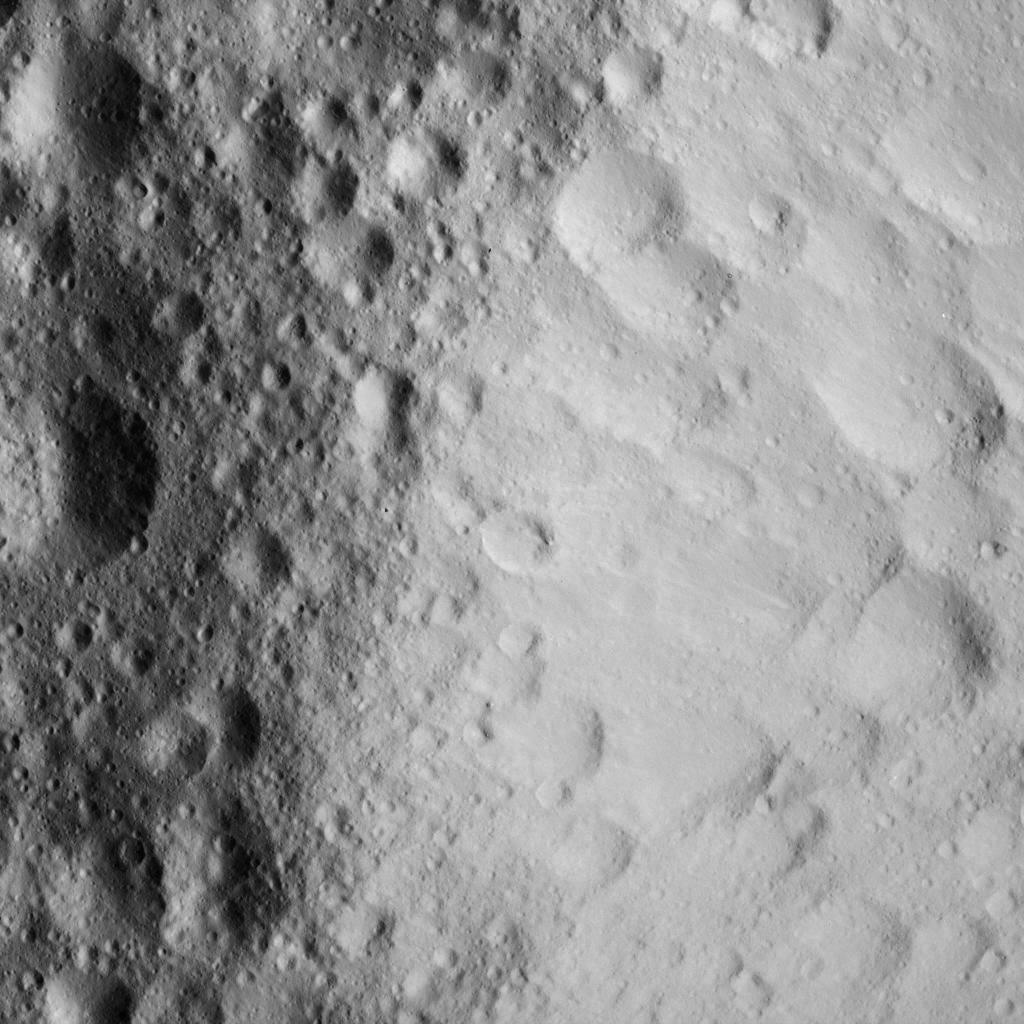 Battered Crater Rim on Ceres