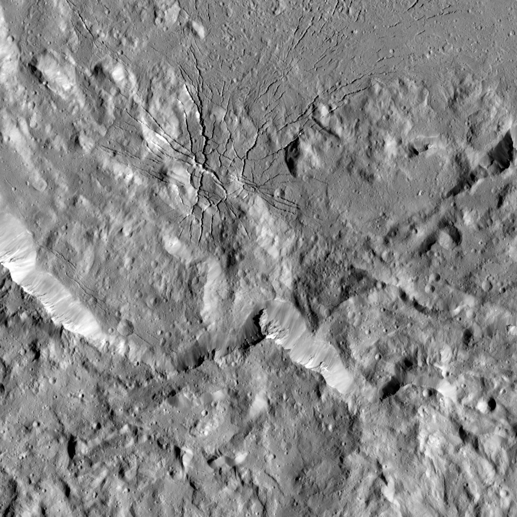 Spiderweb-like Fractures in Occator Crater