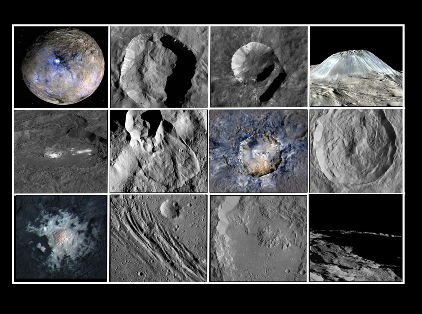Collage of Features on Ceres
