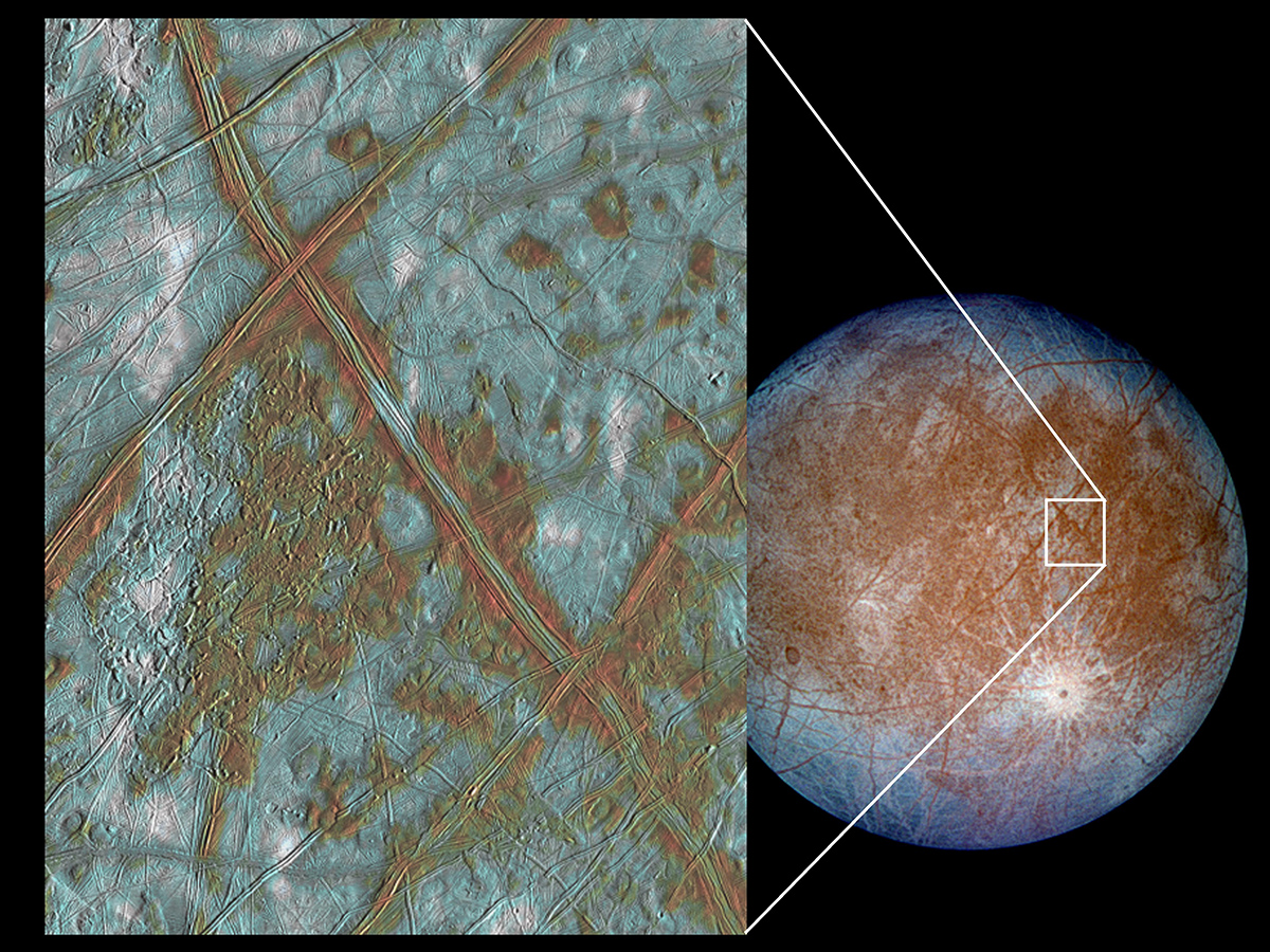 "The image on the left shows a region of Europa's crust made up of blocks which are thought to have broken apart and ""rafted"" into new positions."