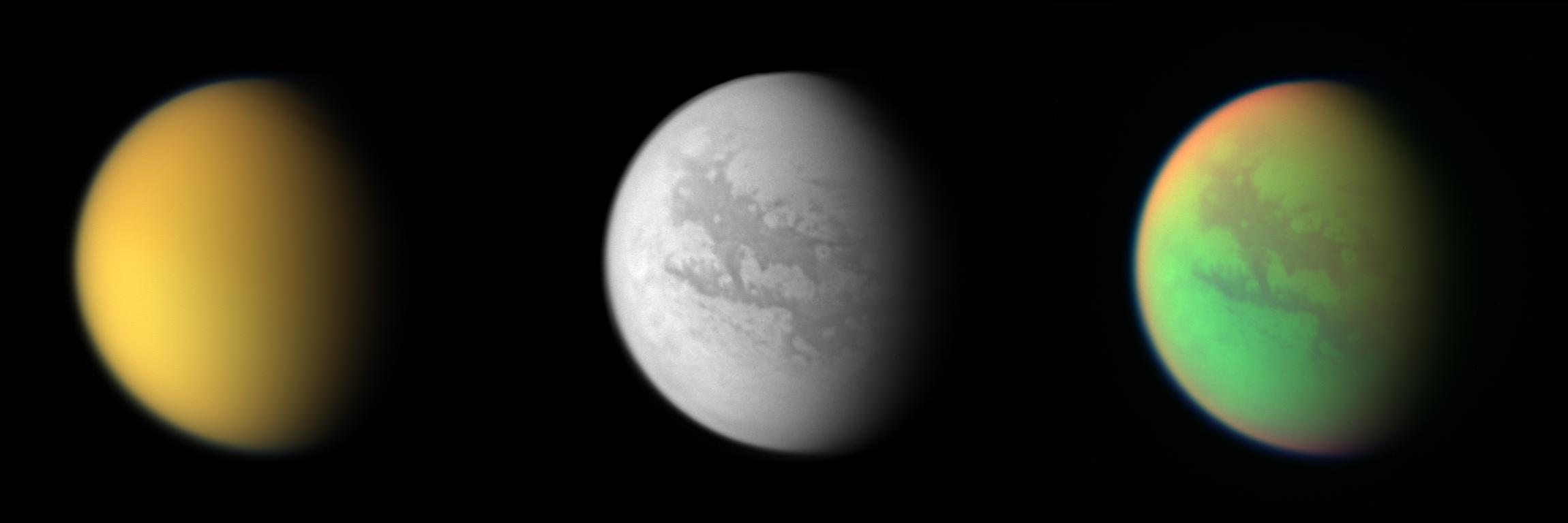 These three views of Titan from the Cassini spacecraft illustrate how different the same place can look in different wavelengths of light.