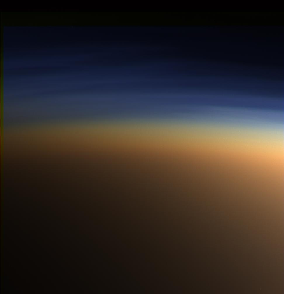 This natural color image shows Titan's upper atmosphere -- an active place where methane molecules are being broken apart by solar ultraviolet light and the byproducts combine to form compounds like ethane and acetylene.