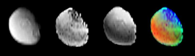 Four views of Iapetus in color and black and white.