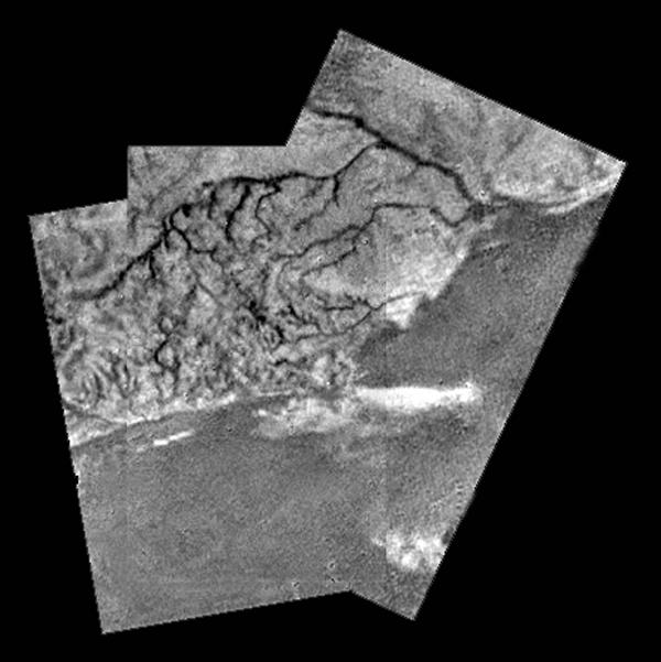 Black and white image showing drainage channels from above.