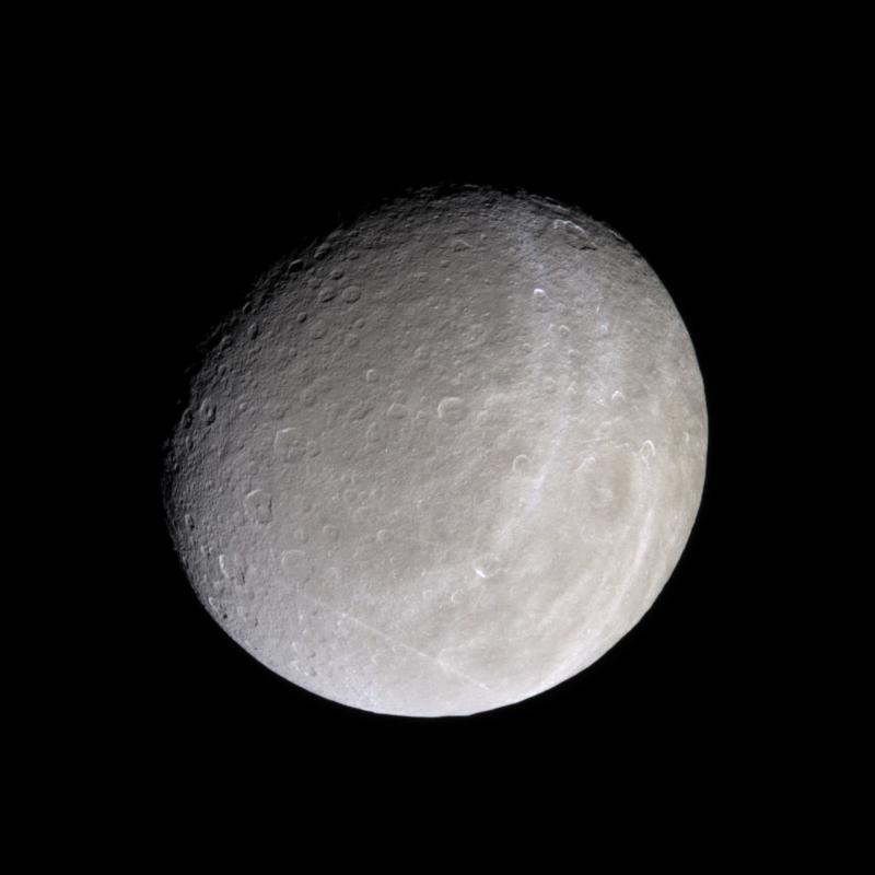 Saturn's moon Rhea, and its bright, wispy terrain