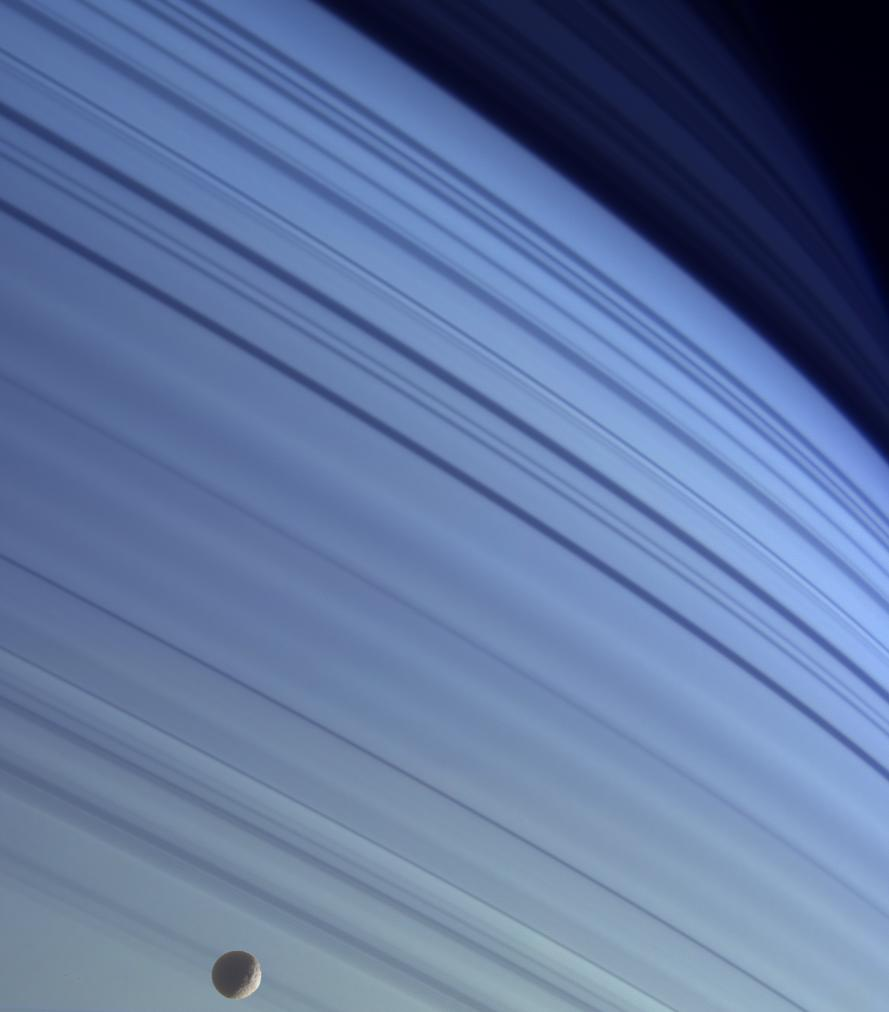 Mimas against the azure backdrop of Saturn's northern latitudes