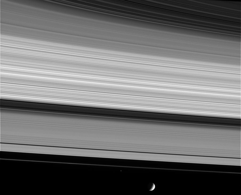 Saturn's complex rings and the moon Mimas