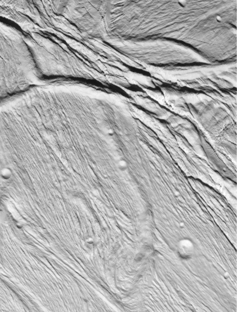 Ridge-and-trough topography on Enceladus