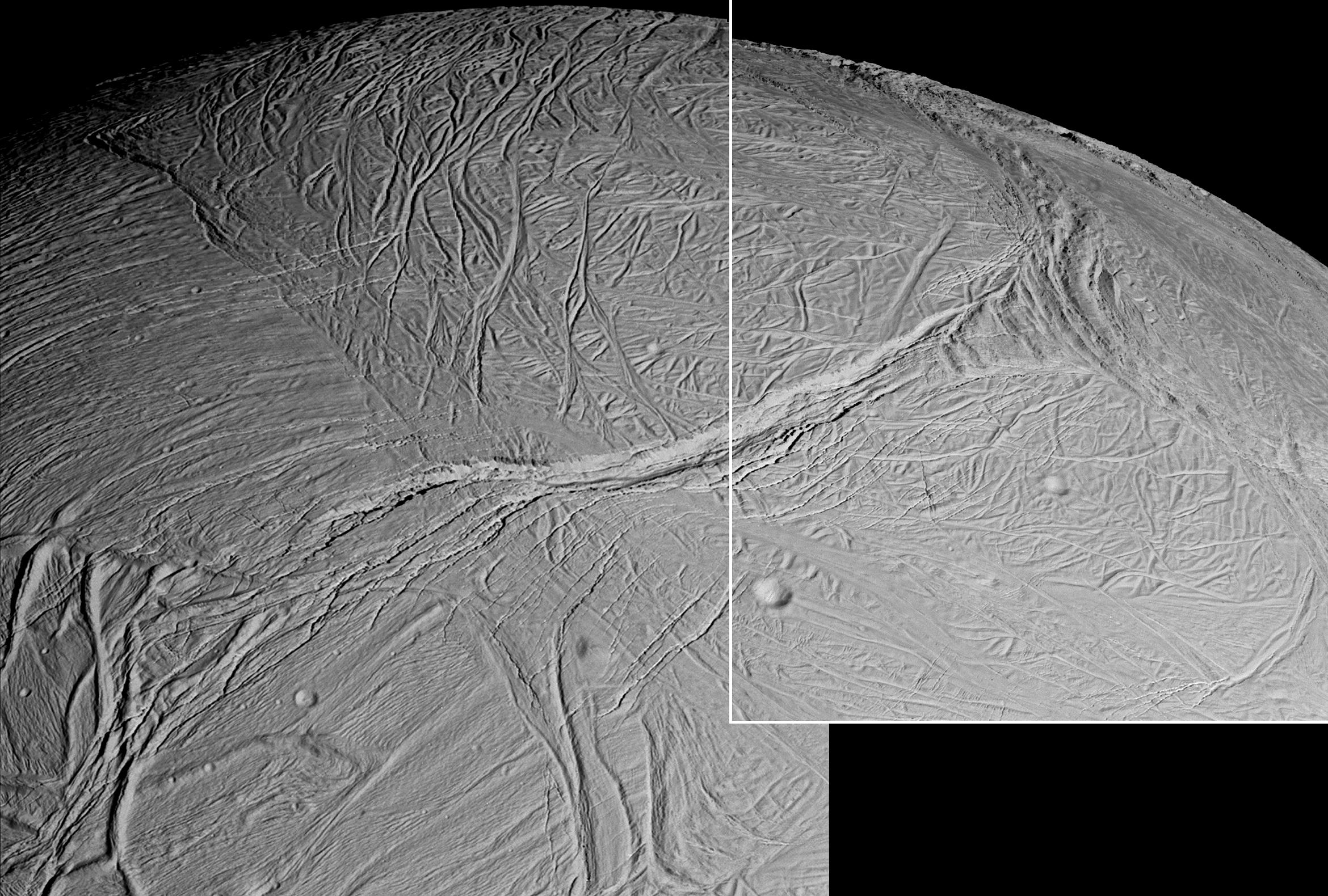 Enceladus' myriad of faults, fractures, folds, troughs and craters