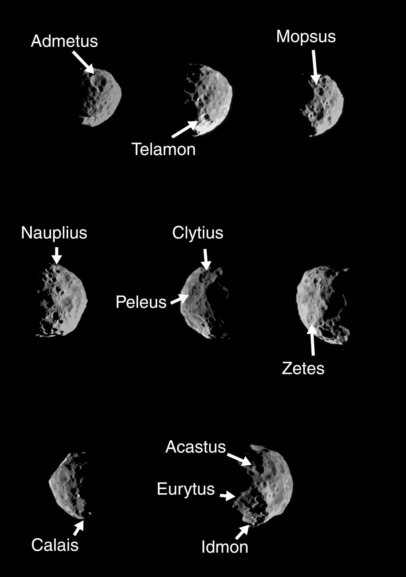 Montage of Saturn's moon Phoebe with craters labeled