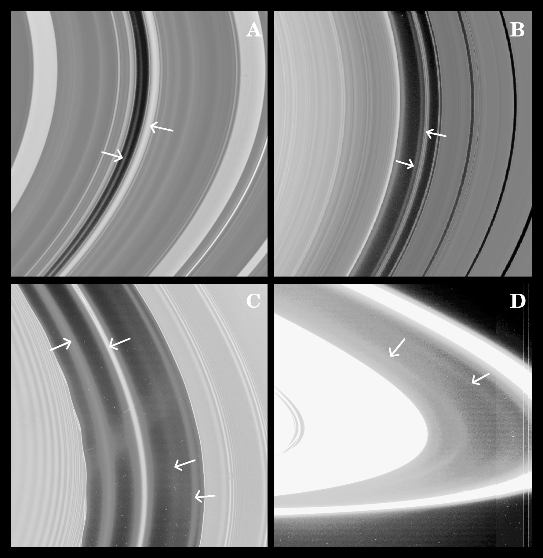 Four views of Saturn's rings labeled A through D, including arrows described in the caption