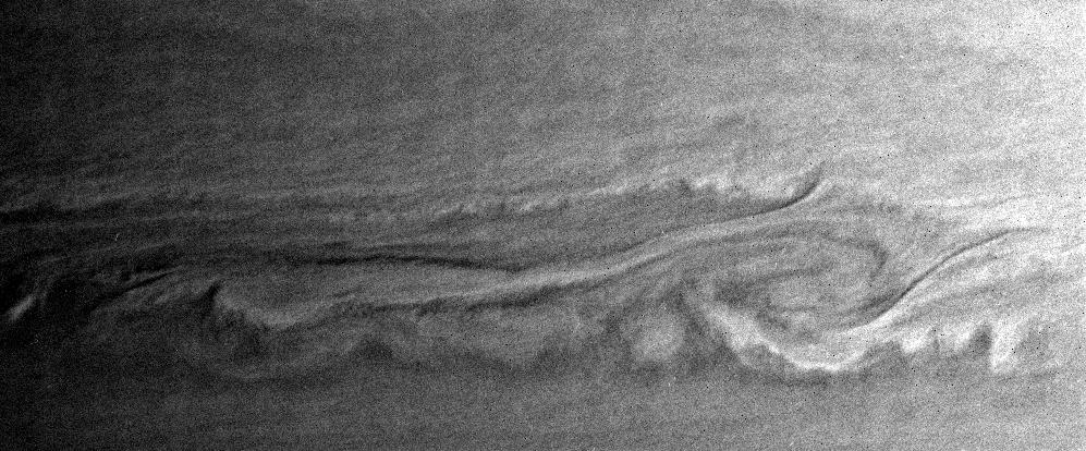 Close-up of Saturn showing turbulent interactions on the surface