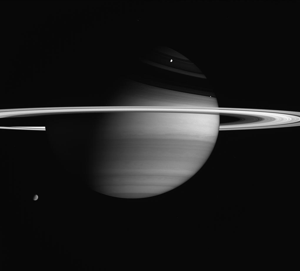 Saturn, the rings, and two moons