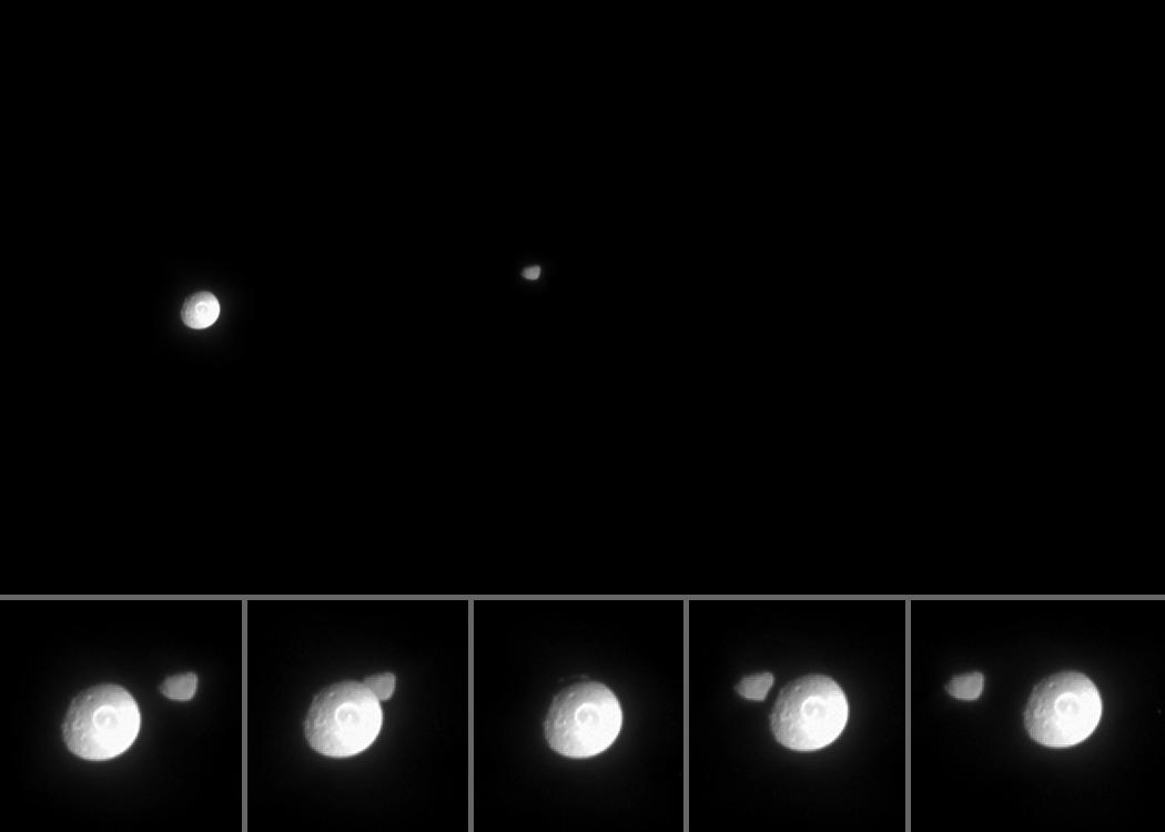 This movie was created from 37 original images taken over the course of 20 minutes as the spacecraft's narrow-angle camera remained pointed toward Janus. Although Mimas moves a greater distance across the field of view, Janus also moved perceptibly during this time. The images were aligned to keep Janus close to the center of the scene. Additional frames were inserted between the 37 Cassini images in order to smooth the appearance of Mimas' movement -- a scheme called interpolation. Close-up images from the few minutes surrounding the occultation are arranged into a strip along the bottom of the movie.