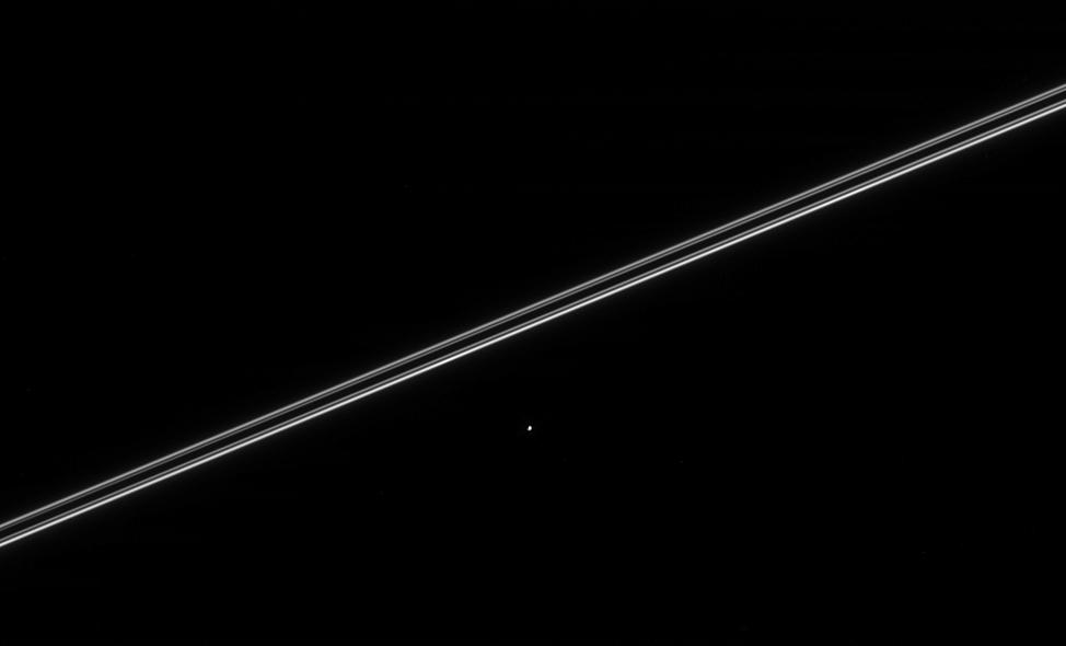 the moon Helene with Saturn's rings