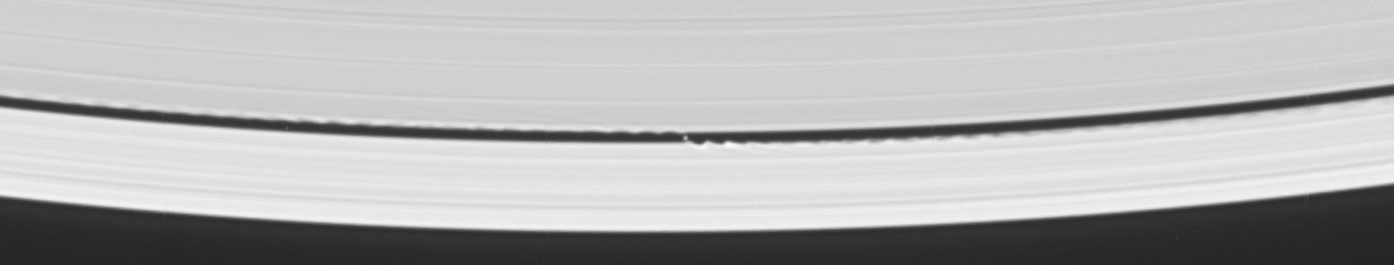 The small moon S/2005 S1 in orbit within the Keeler gap in Saturn's rings