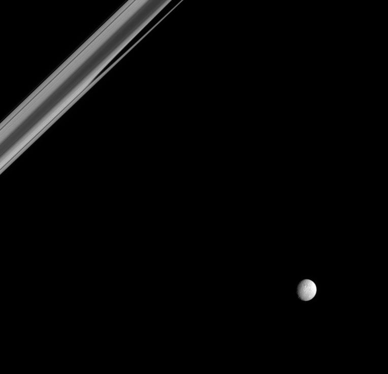 Mimas and a portion of Saturn's rings