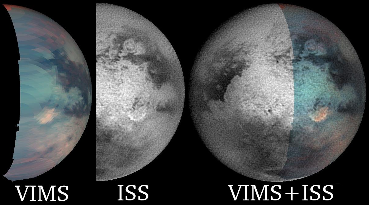 Two views of the infrared-bright spot on Titan