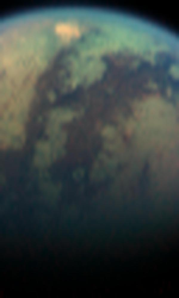 Image of an unusual bright, red spot on Titan