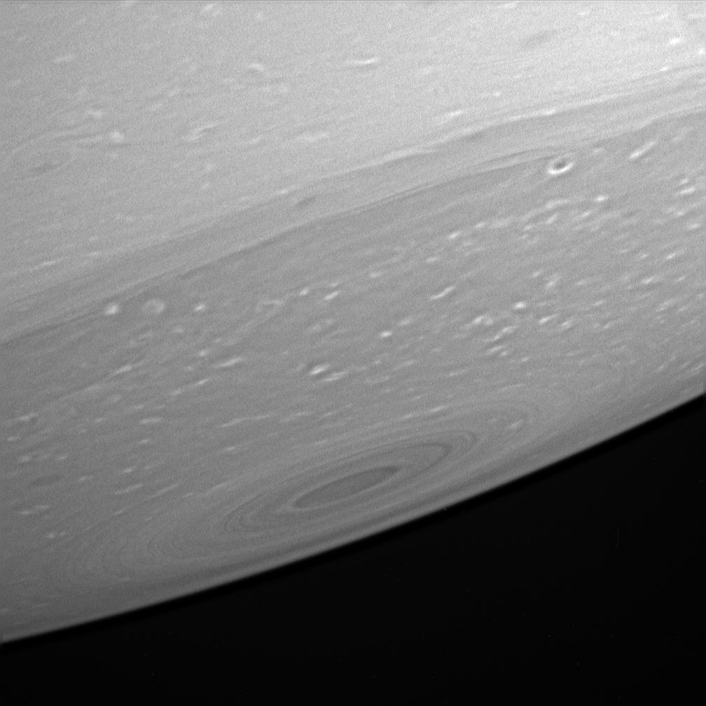 An up-close look at the haze-free upper atmosphere of Saturn's relatively dark south pole.
