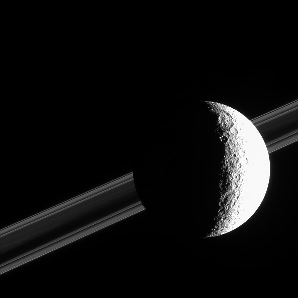 Saturn's brightly sunlit moon Rhea