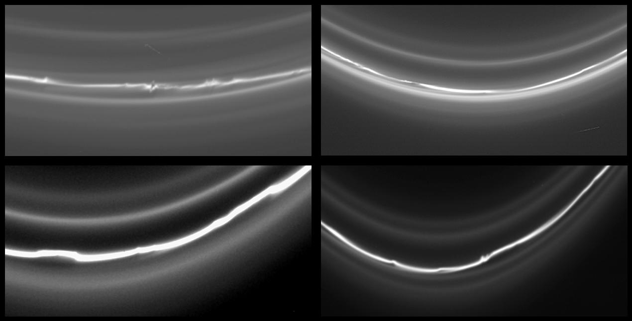 Four images of Saturn's knotted F ring