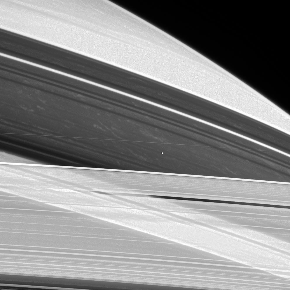 Prometheus hovers between the A and F rings