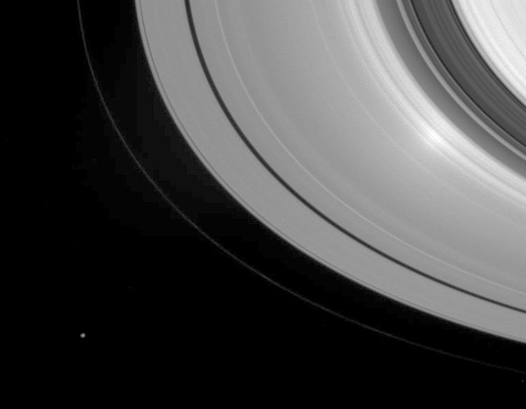 Saturn's rings with the Sun directly behind the spacecraft