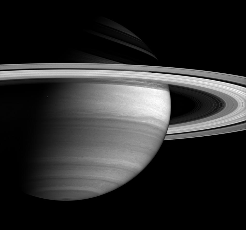 Saturn's bright equatorial band is the most prominent feature on the planet in this view