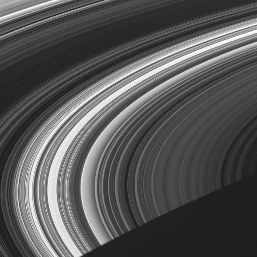 the unlit face of Saturn's rings