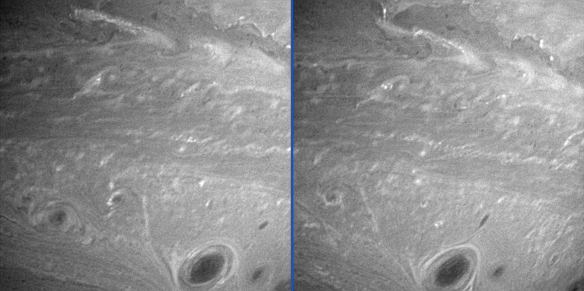 Vortices mingle amidst other turbulent motions in Saturn's atmosphere in these two comparison images