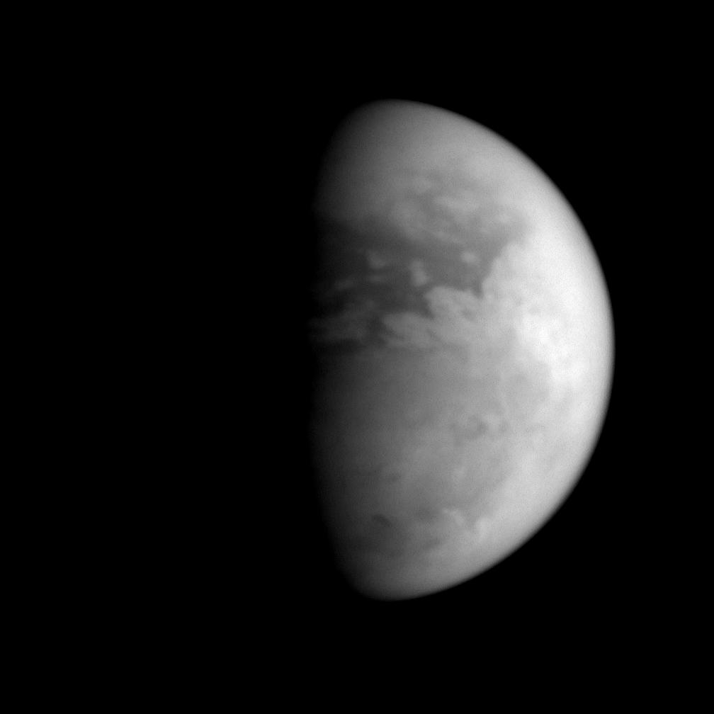 Titan's equatorial latitudes are distinctly different in character from its south polar region, as this image shows