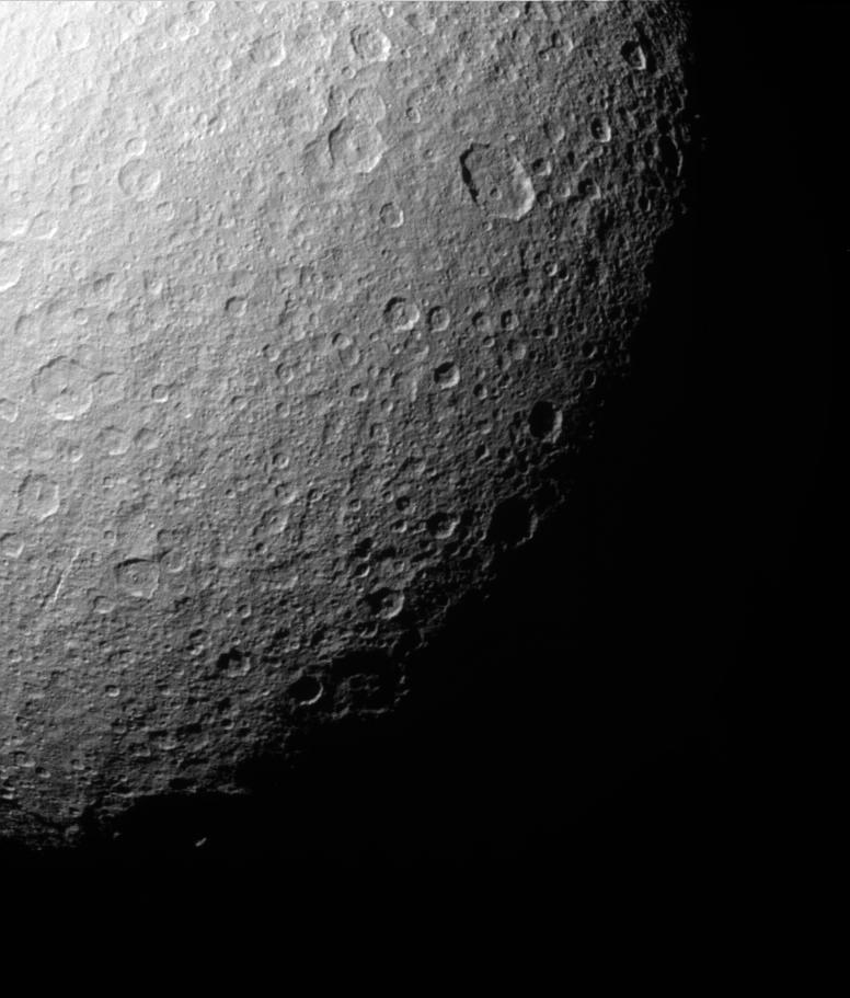 The southern polar region of Rhea has been extensively re-worked by cratering over the eons