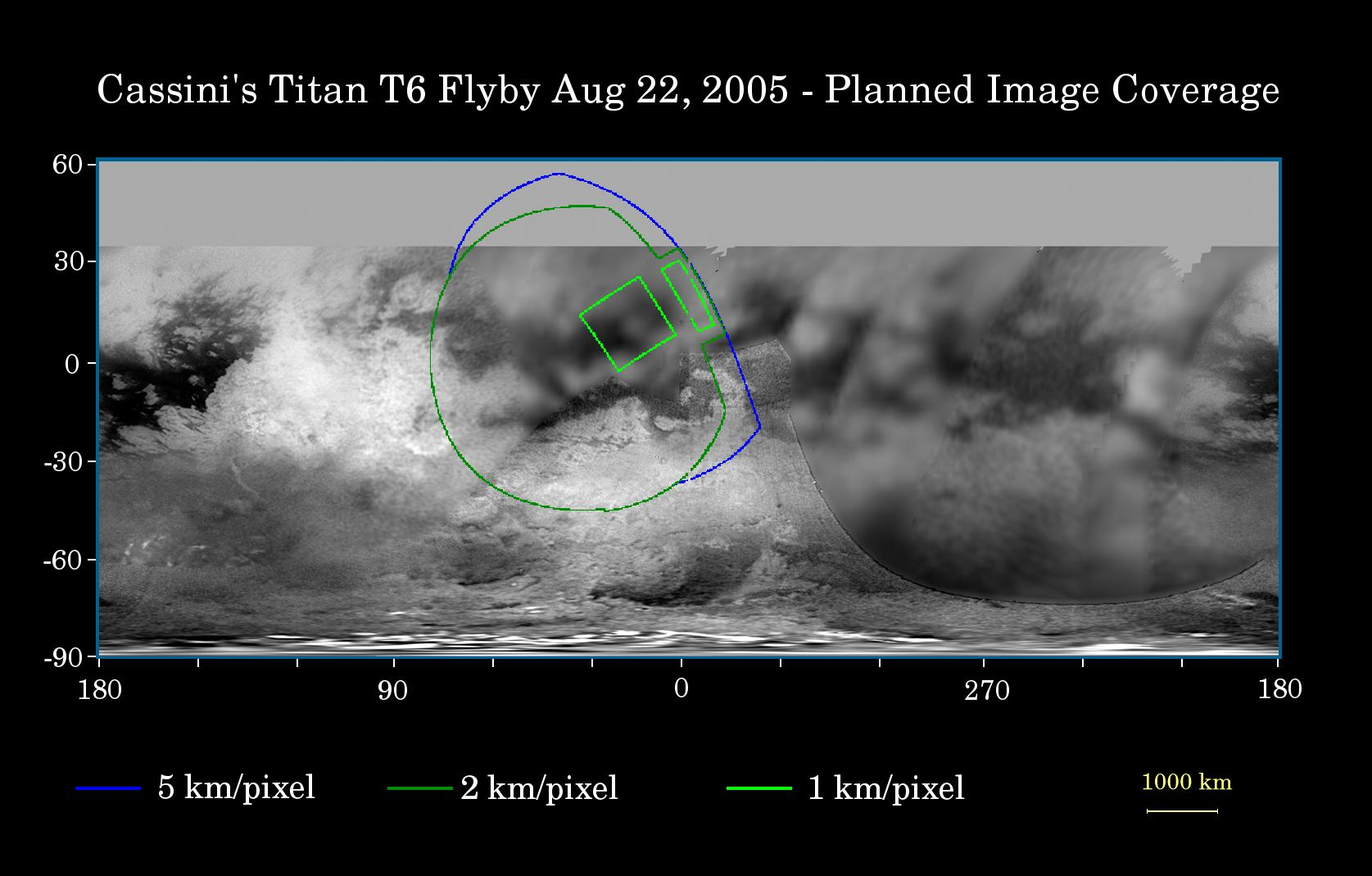 This map of Titan's surface illustrates the regions that will be imaged by Cassini during the spacecraft's close flyby of Titan on Aug. 22, 2005.