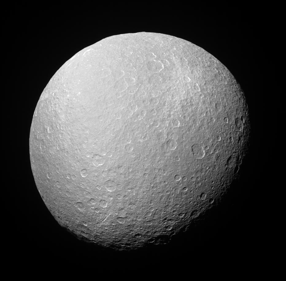 An image of Rhea's icy surface