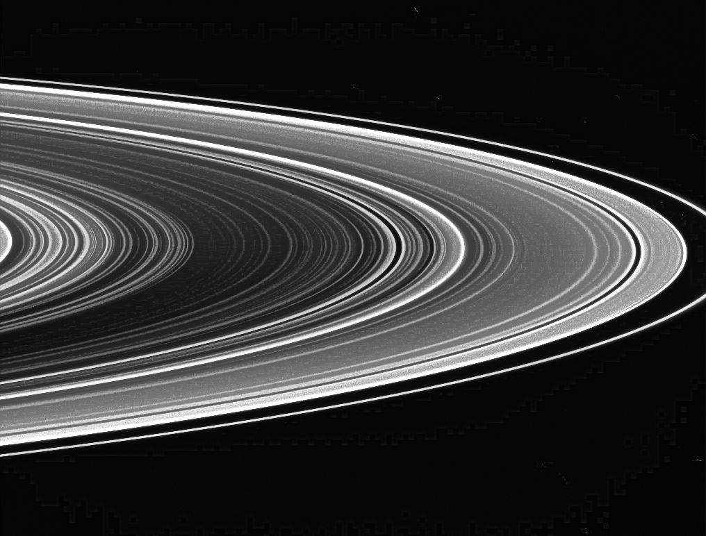 An extreme contrast view of the unlit side of Saturn's rings.