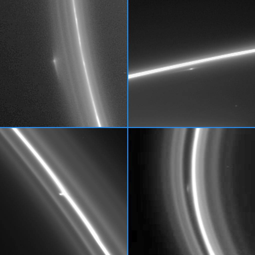 This montage of four enhanced Cassini narrow-angle camera images shows bright clump-like features at different locations within the F ring.