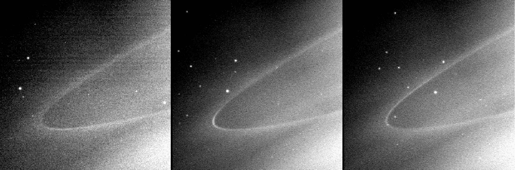 This sequence of images shows a faint arc of material in Saturn's G ring